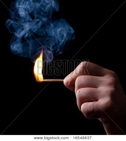 Iignition Of Match With Smoke