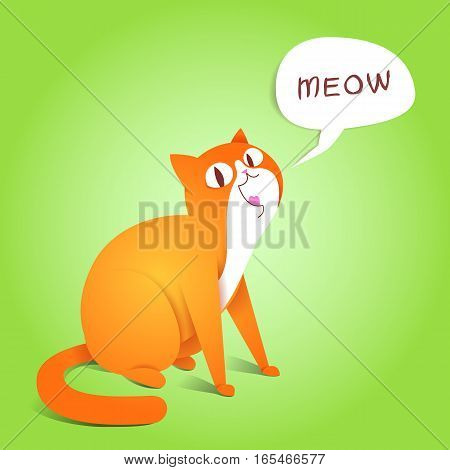 Cat Meow saying. Eastern style. Vector illustration