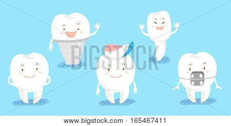 cute cartoon tooth feel happily and smie