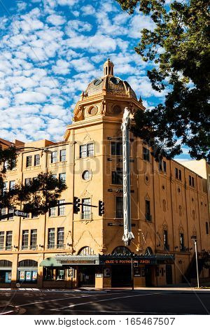 SAN DIEGO, CALIFORNIA - JANUARY 8, 2017:  The Balboa Theatre, a former vaudeville/movie theater which was built in 1924 and is located in the historic Gaslamp District.