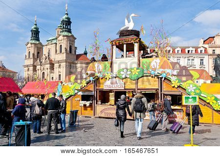CZECH REPUBLIC, PRAGUE - MARCH 2016: famous easter market, Old town square, Prague, Czech republic. Traditional celebration of easter holiday in historical centre of Prague (UNESCO).