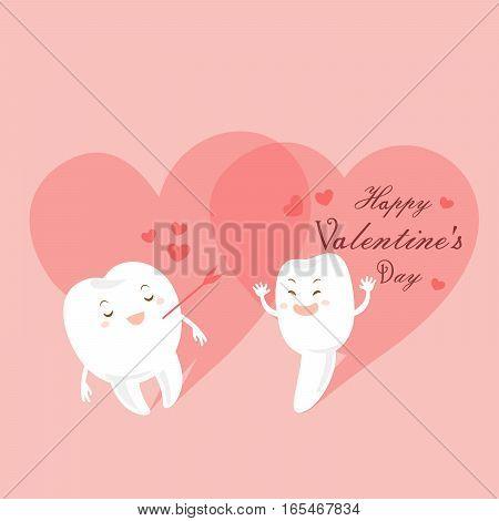 cute cartoon teeth with happy valentine day