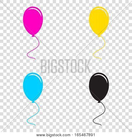 Balloon Sign Illustration. Cmyk Icons On Transparent Background.