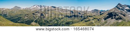 Panorama of austrian alps on Grossglockner High Alpine Road Austria