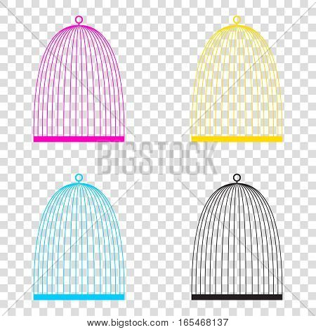 Bird Cage Sign. Cmyk Icons On Transparent Background. Cyan, Mage