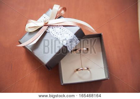 Beautiful, gold, wedding rings in a box