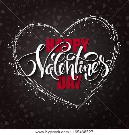 Vector happy valentines day lettering with heart shaped frame.