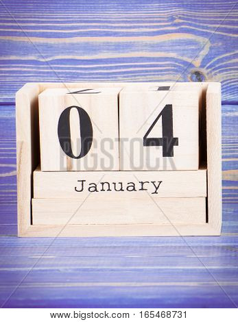 January 4Th. Date Of 4 January On Wooden Cube Calendar