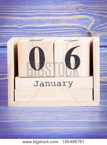 January 6Th. Date Of 6 January On Wooden Cube Calendar