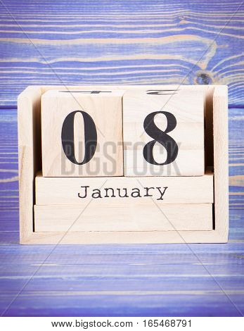 January 8Th. Date Of 8 January On Wooden Cube Calendar