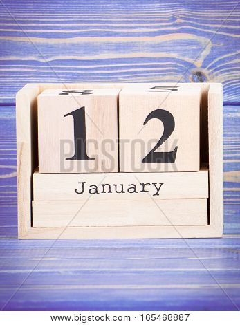 January 12Th. Date Of 12 January On Wooden Cube Calendar