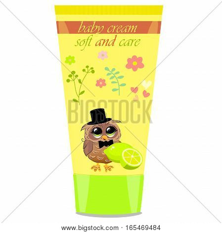 High quality original trendy vector lime Baby cream tube with kids design and owl on floral background illustration