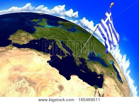 Greece national flag marking the country location on world map. 3D rendering, parts of this image furnished by NASA