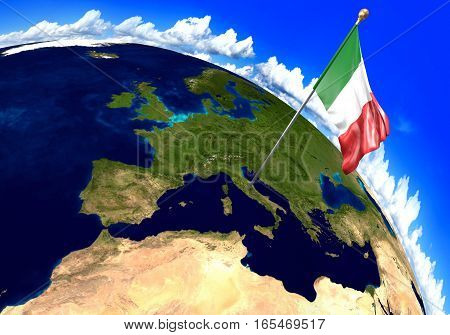 Italy national flag marking the country location on world map. 3D rendering, parts of this image furnished by NASA