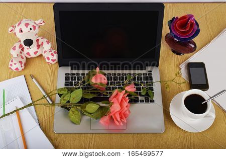 Mock up objects such as computer smartphone on a wooden background front view