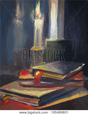 Burning candle and old books, oil painting