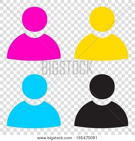 User Sign Illustration. Cmyk Icons On Transparent Background. Cy