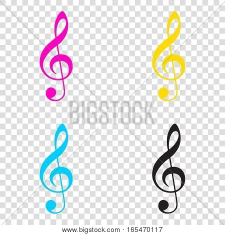 Music Violin Clef Sign. G-clef. Treble Clef. Cmyk Icons On Trans