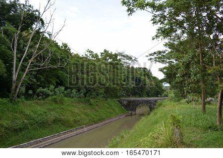 bridge in the ditch at yogyakarta indonesia