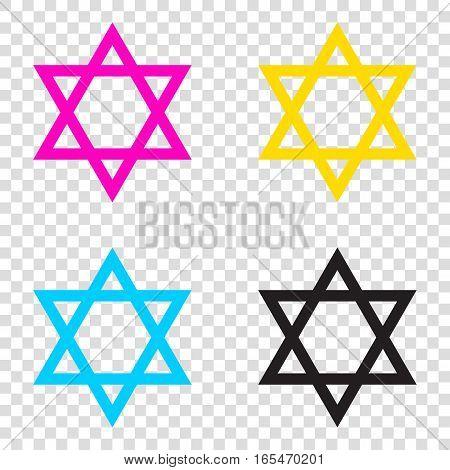 Shield Magen David Star. Symbol Of Israel. Cmyk Icons On Transpa
