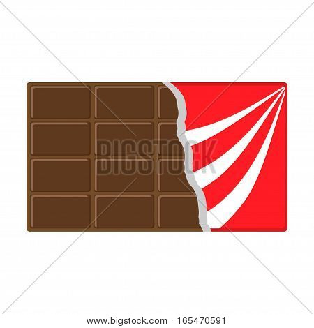 Chocolate bar icon. Opened red wrapping paper foil. Tasty sweet food Milk dark dessert. Rectangle shape Horizontal piece. Modern simple style. Flat design White background Isolated Vector illustration