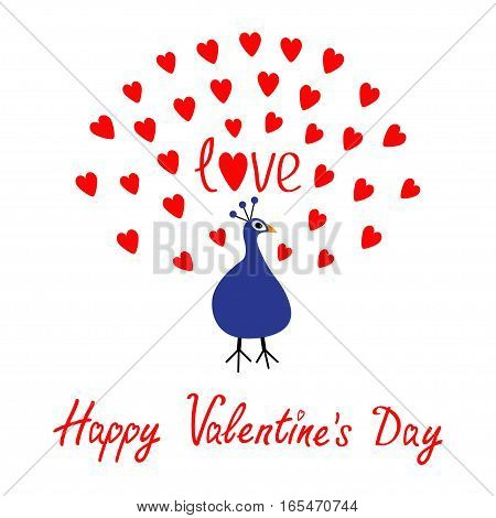 Peacock Open red heart set tail. Zoo animal collection. Exotic tropical bird. Cute cartoon character. Blue color Happy Valentines Day. Word Love text. Greeting card. White background. Flat Vector