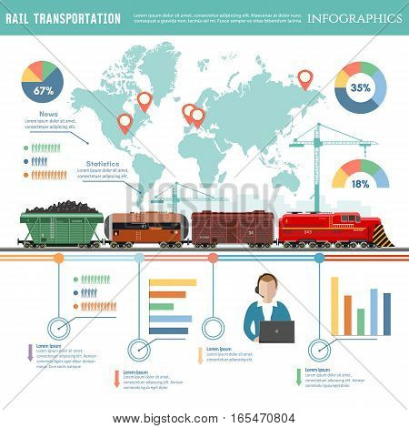 Cargo train global transport logistics. Cargo transportation by train transportation of oil gas toxic chemicals infographics. Freight trains wagonst flat design presentation