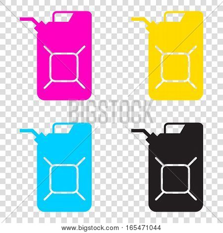 Jerrycan Oil Sign. Jerry Can Oil Sign. Cmyk Icons On Transparent