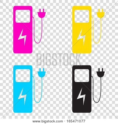 Electric Car Charging Station Sign. Cmyk Icons On Transparent Ba