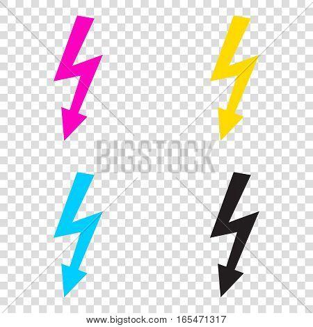 High Voltage Danger Sign. Cmyk Icons On Transparent Background.