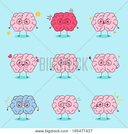 cute cartoon brain express all kinds of emotions