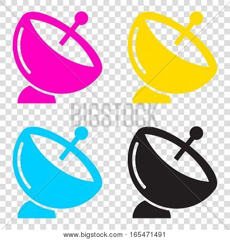 Satellite Dish Sign. Cmyk Icons On Transparent Background. Cyan,