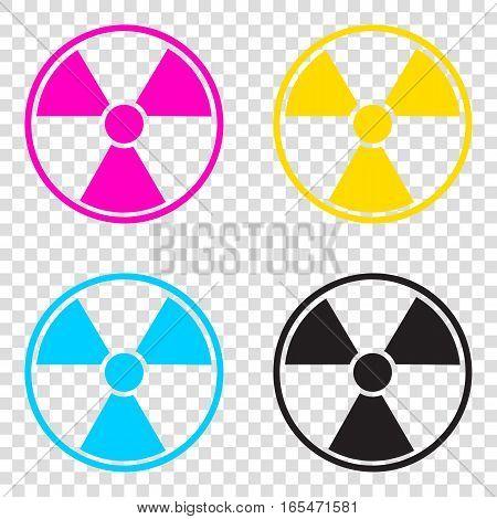 Radiation Round Sign. Cmyk Icons On Transparent Background. Cyan