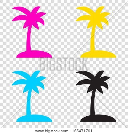 Coconut Palm Tree Sign. Cmyk Icons On Transparent Background. Cy