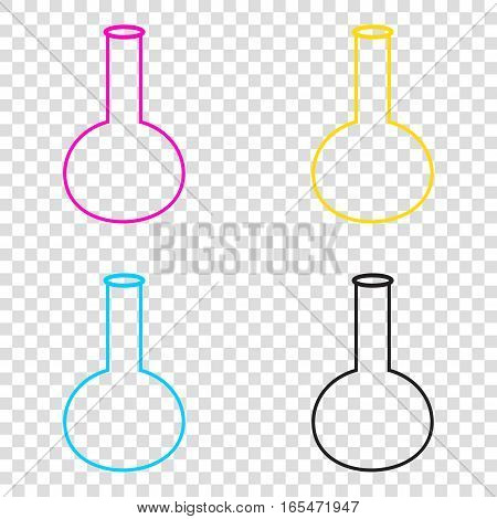 Tube. Laboratory Glass Sign. Cmyk Icons On Transparent Backgroun