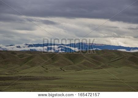 Scene Of Steppe And Mountaints On A Background, Kazakhstan