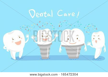 cute happy cartoon tooth with dental care