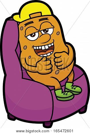Couch Potato Cartoon Illustration Isolated on White Background