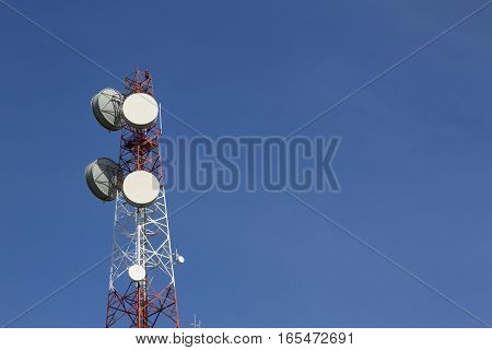 Communication tower with blue sky background,cell tower