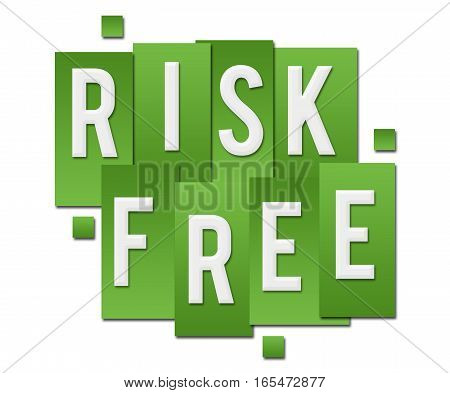 Risk free text alphabets written over green background.