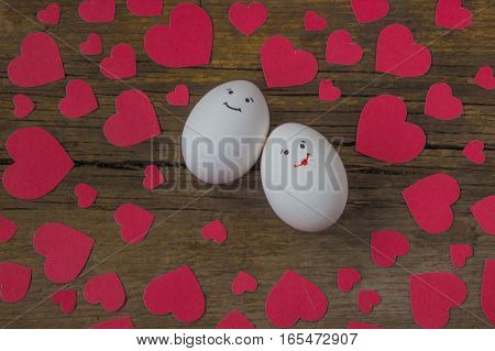 Unusual Eggs In Love With The Muzzle And Red Hearts