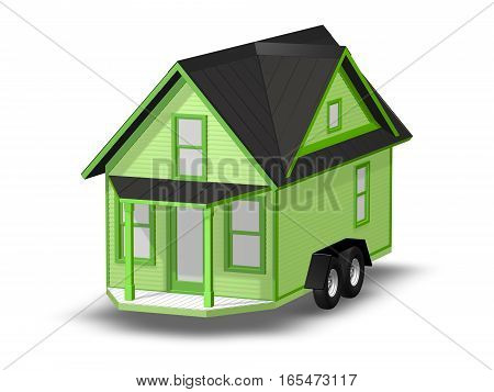 3D Rendered Illustration of a tiny house on a trailer.  House is isolated on a white background.  House has covered Porch.