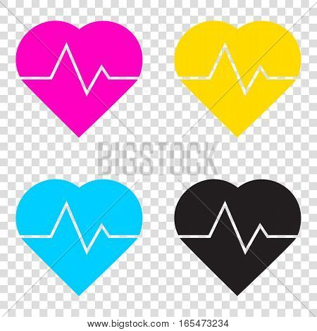 Heartbeat Sign Illustration. Cmyk Icons On Transparent Backgroun