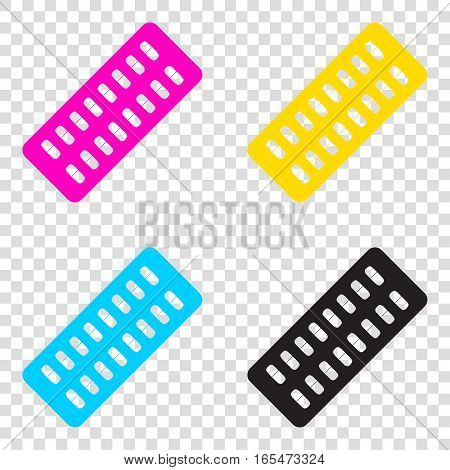 Medical Pills Sign. Cmyk Icons On Transparent Background. Cyan,