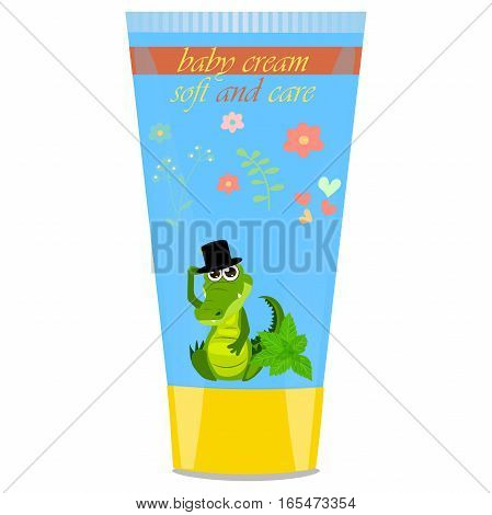 High quality original trendy vector mint Baby cream tube with kids design and crocodile or alligator on floral background illustration