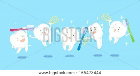 cute cartoon tooth playing tooth brush and dental floss