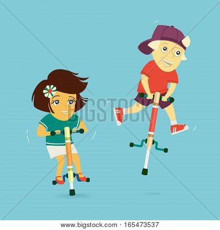 Boy and Girl Ride on Jumpers Vector Illustration