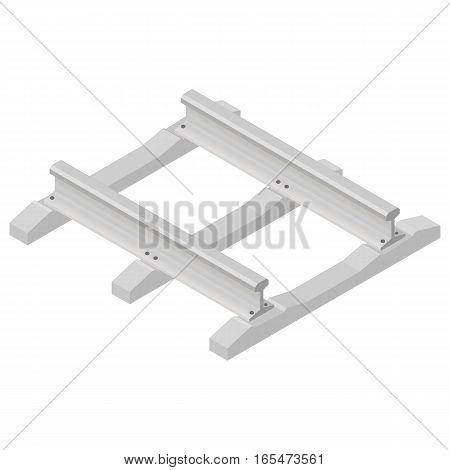 Railroad tracks with concrete sleepers isolated on white background. Flat 3D isometric style vector illustration.