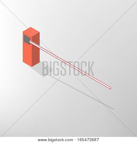 The barrier isolated on white background. Crossbar for opening and closing the way at level crossings. Flat 3D isometric style vector illustration.