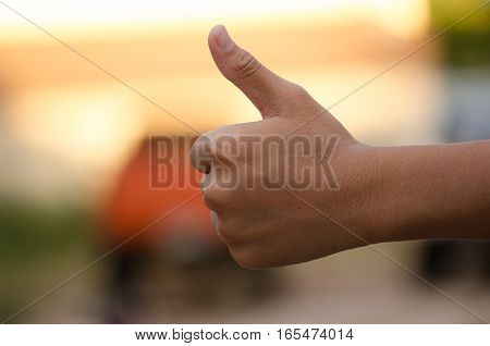 Hand symbolic sense Evening light beauty beautiful background blur.